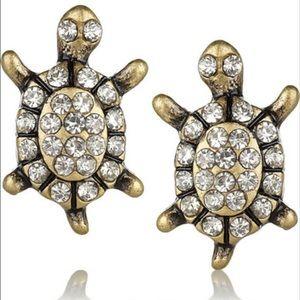 J. CREW 🧡 Rhinestone Turtle Earrings